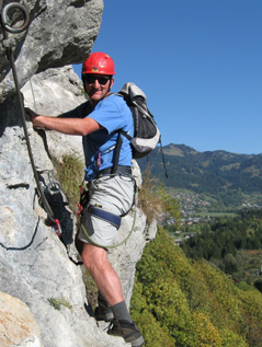 Mike climbing in France